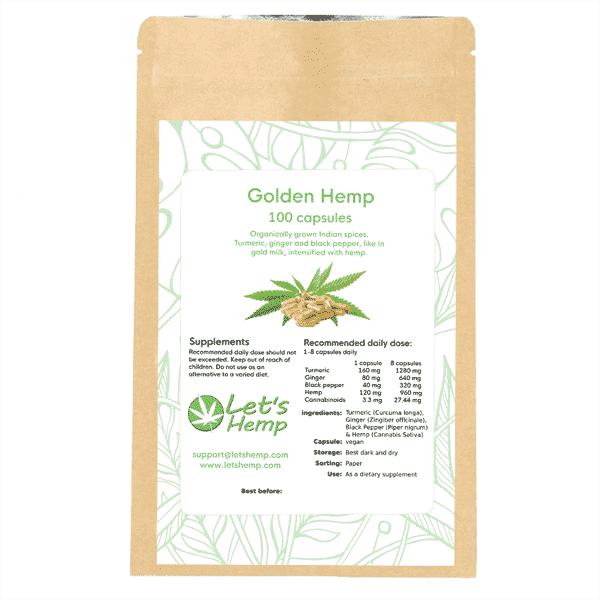 Golden Hemp 100 capsules, 300 mg cannabinoids
