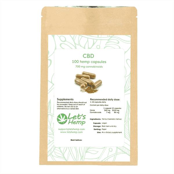 Hemp capsules 100, 700 mg Cannabinoids